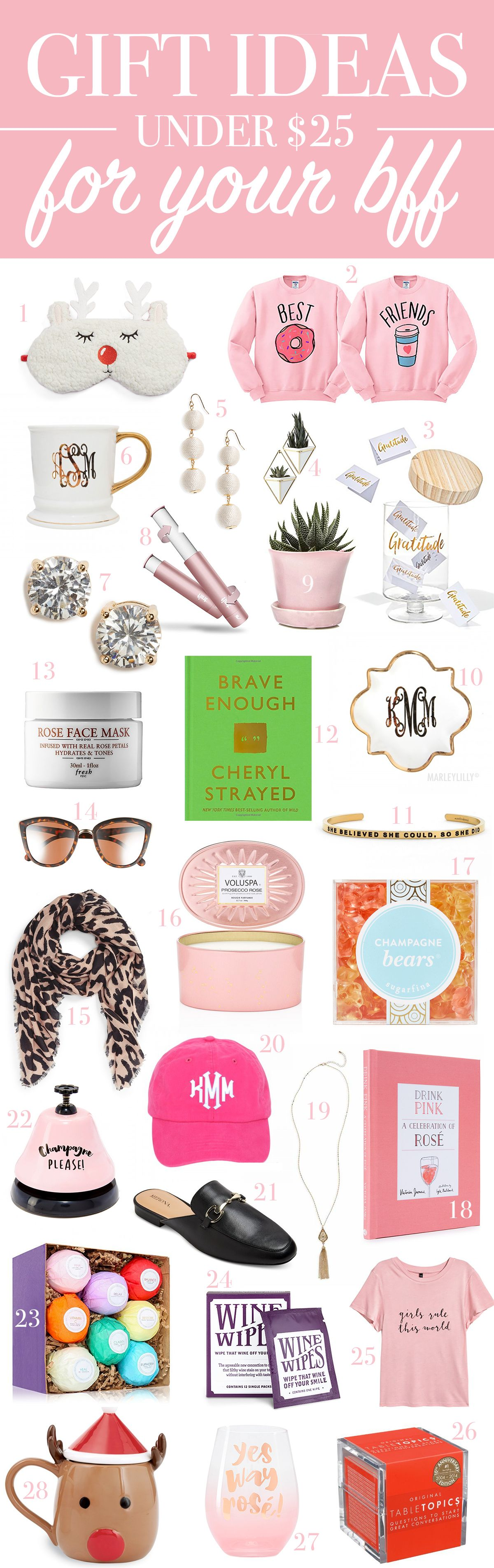 Round Up Of The Best Gifts Under 25 For Your Bff Secret Santa Ideas Women By Southern