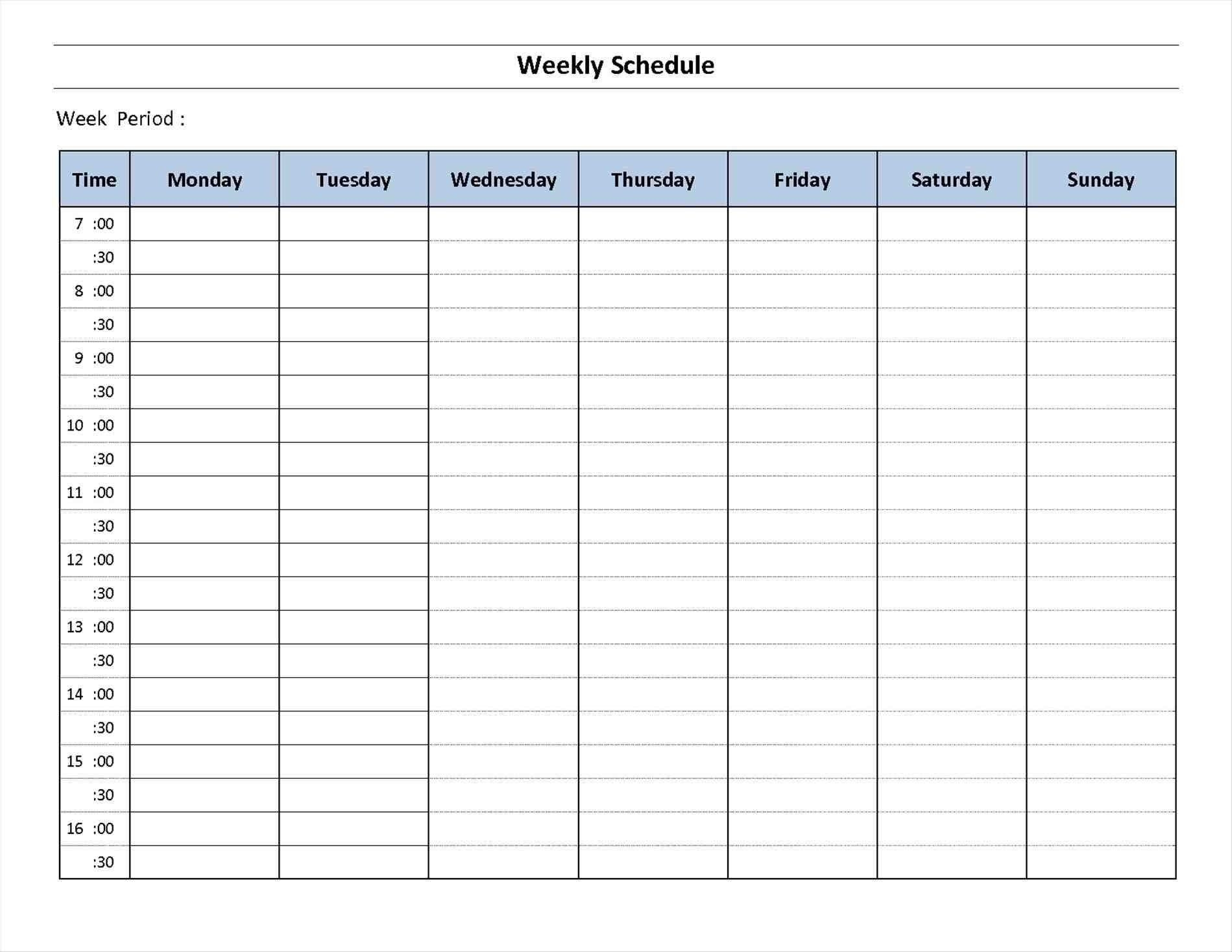 7 Day Week Calendar Printable