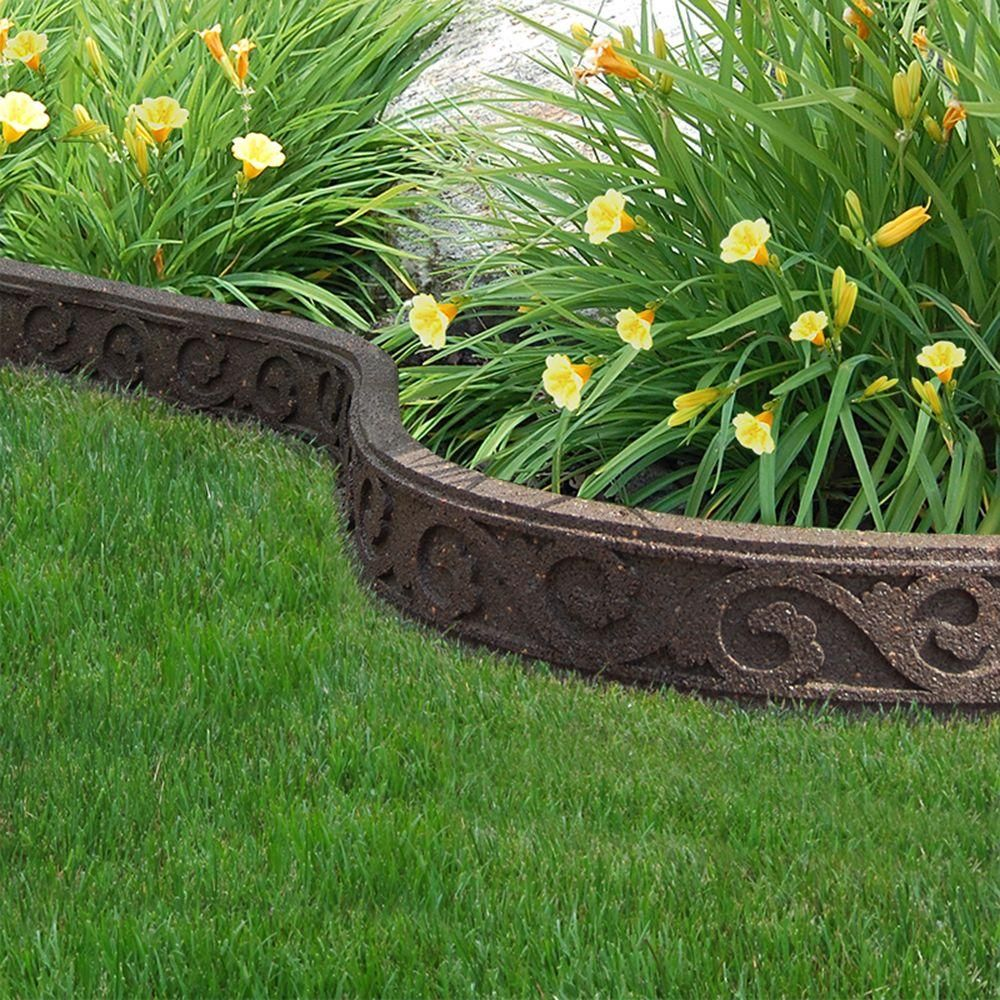Multy Home Flexi Curve 4 Ft Earth Scroll Rubber Garden Edging 4 Pack Mt5001158 The Home Depot Garden Edging Landscape Borders Flower Bed Borders
