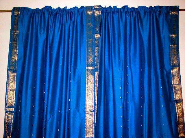 Royal Blue And Gold Sari Silk Curtains Bedroom