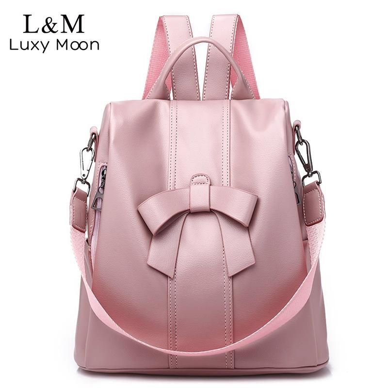 23d48748f94 Women Backpack Soft Leather Bow Pink School Backpacks For Teenager ...