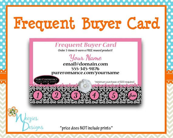pure romance frequent buyer card business card direct sales marketing independant consultant - Pure Romance Business Cards