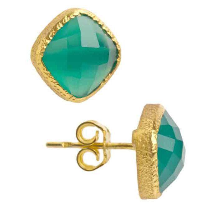 Vasant Designs Green Onyx 24k Gold Vermeil Earrings E021 Artistic