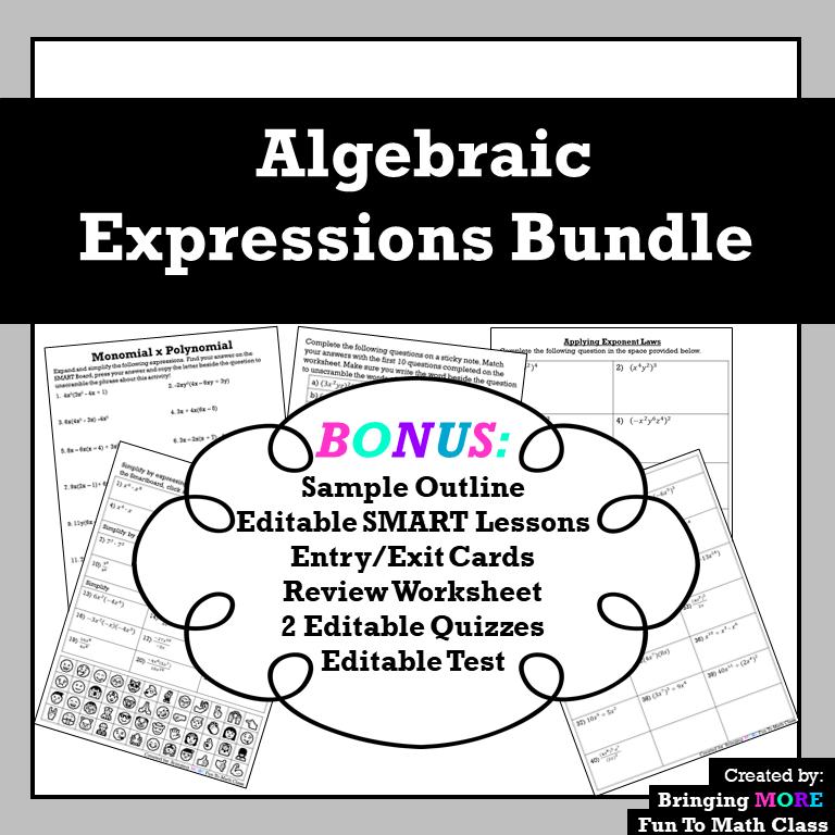 Algebraic Expressions Bundle in 2020 Algebraic