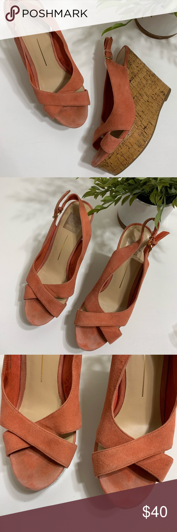 3ccc78a9da8 Dolce Vita • leather peep slingback wedge Great pre-owned condition! No  signs of