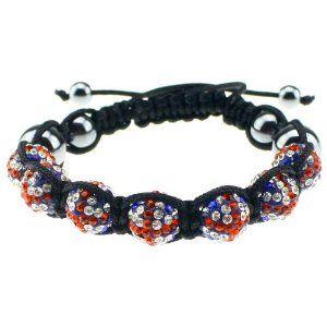 10mm Us Flag Crystals Macrame 7pcs Beaded Shamballa Ball Adjustable Bracelet