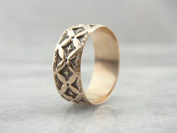 Lattice Motif Antique Victorian Cigar Band Wedding Ring in Rose