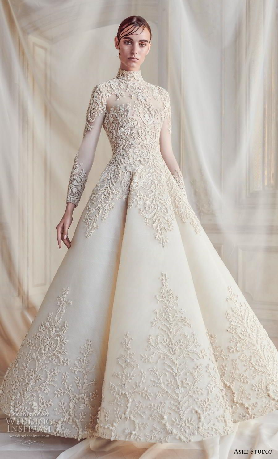 Ashi Studio Fall Winter 2019 Bridal Long Sleeves High Neck Full Embellishment Glamorous A Lin Modest Wedding Dresses Ball Gown Wedding Dress Beautiful Dresses