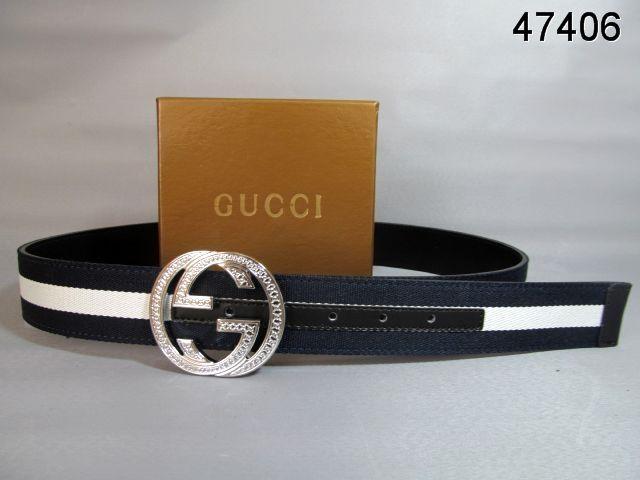 Gucci Belt Silver Interlocking G Buckle blue black white