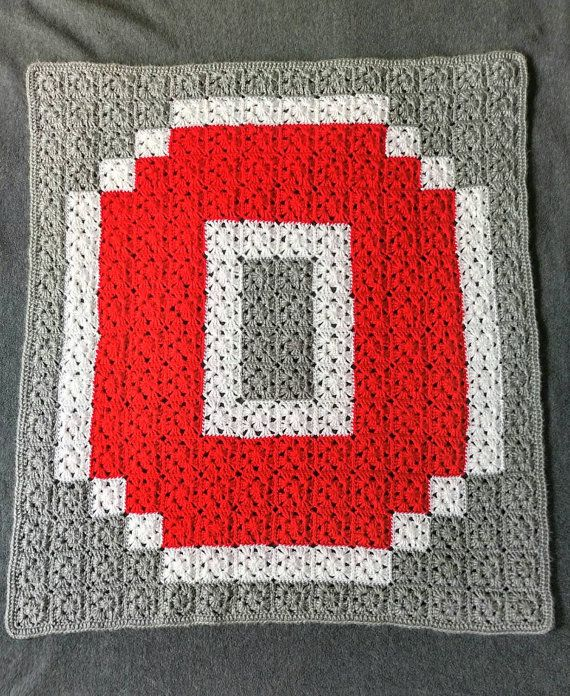Crochet Ohio State Blanket Customizable Handmade Block O