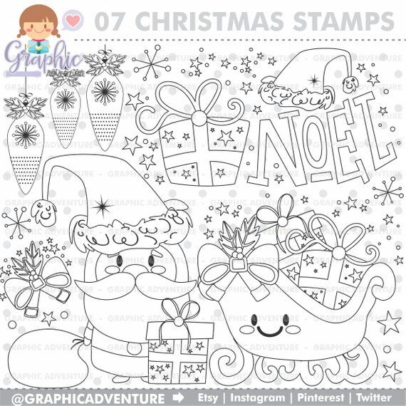 Christmas Stamps Noel Stamps Commercial Use Santa Claus Etsy Christmas Stamps Christmas Coloring Pages Coloring Pages