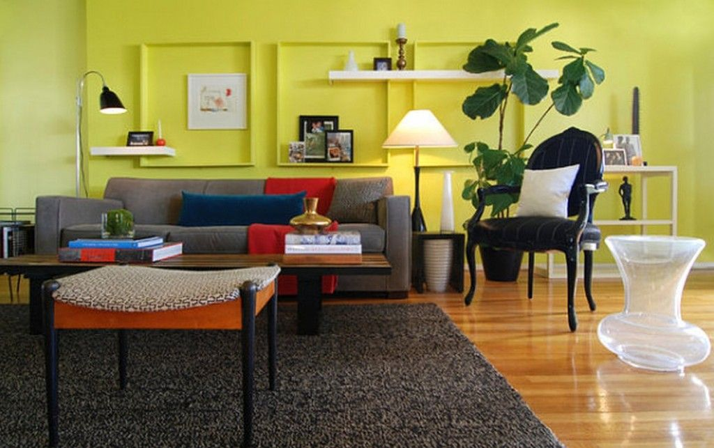 Decoration: Bright Lime Yellow Living Room Wall Color ...