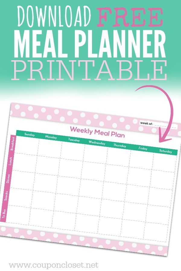 FREE Meal Planning Chart Printable Meal Planning Pinterest