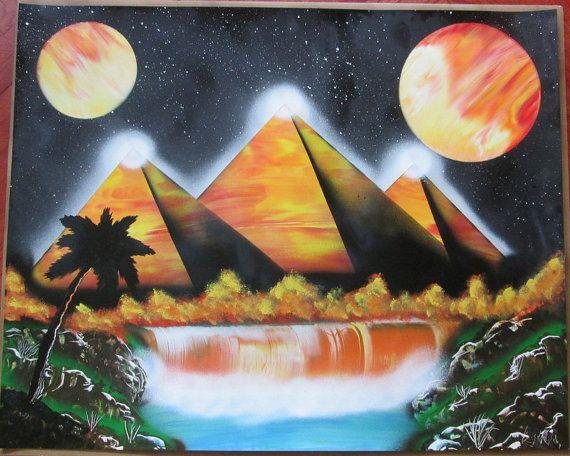 large pyramid galaxy spray paint art egyptian art egyptian decor easter home