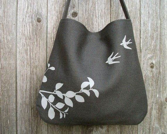 eco friendly hemp bag with flying swallows charcoal my imaginary wardrobe bags fabric. Black Bedroom Furniture Sets. Home Design Ideas