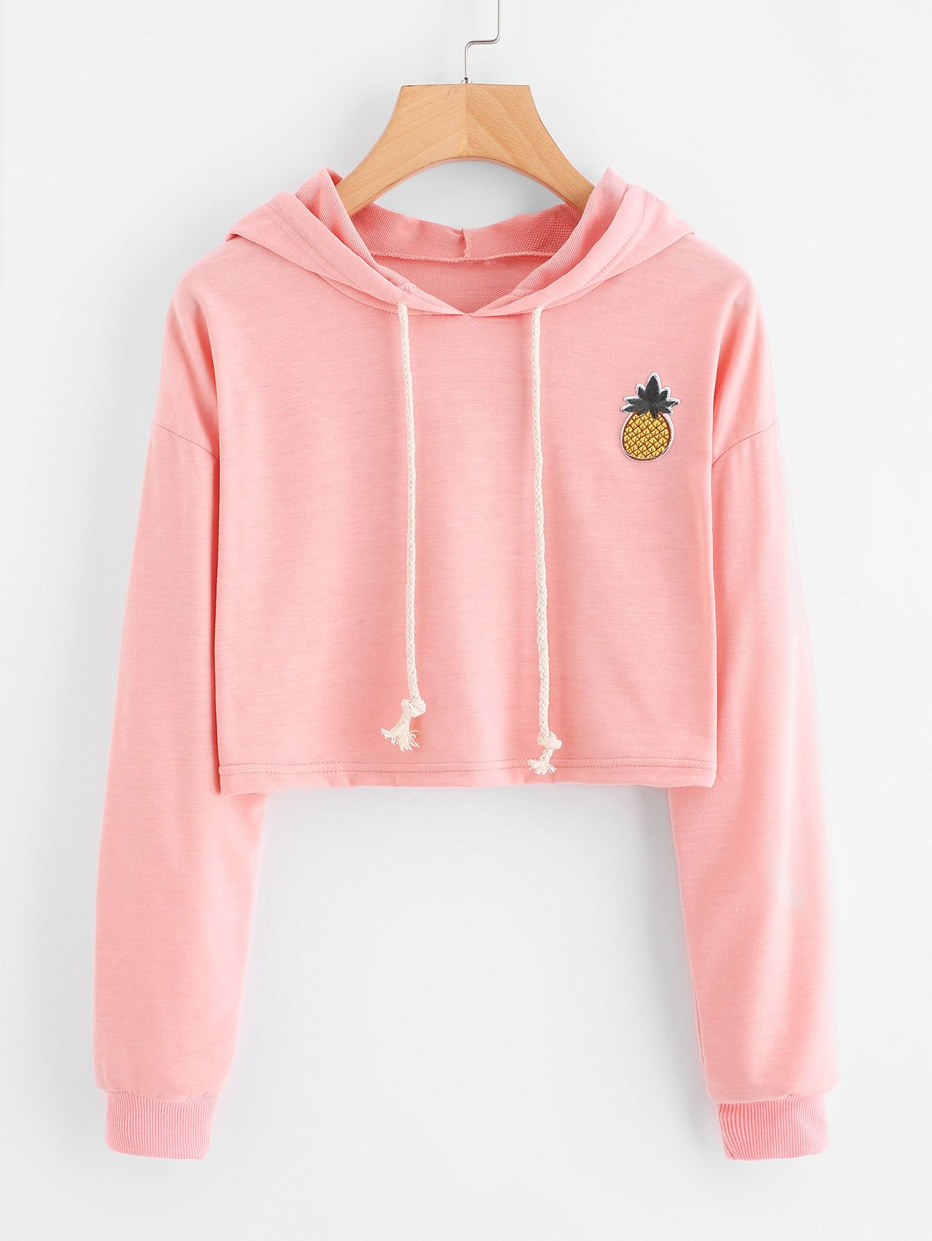 34f5b36f Pineapple Patch Crop HoodieFor Women-romwe   Shirts in 2019 ...