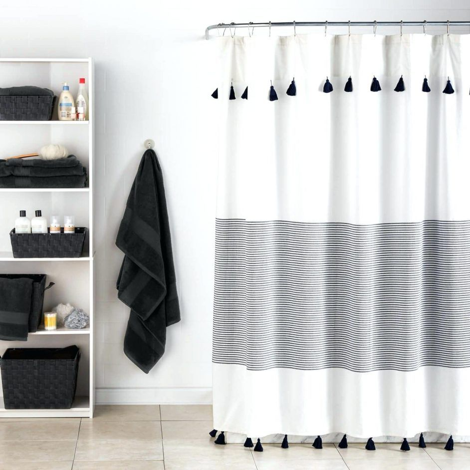 Shower Curtains Panama Stripe Curtain Light Gray Striped Bathroom Decoration Grey And White