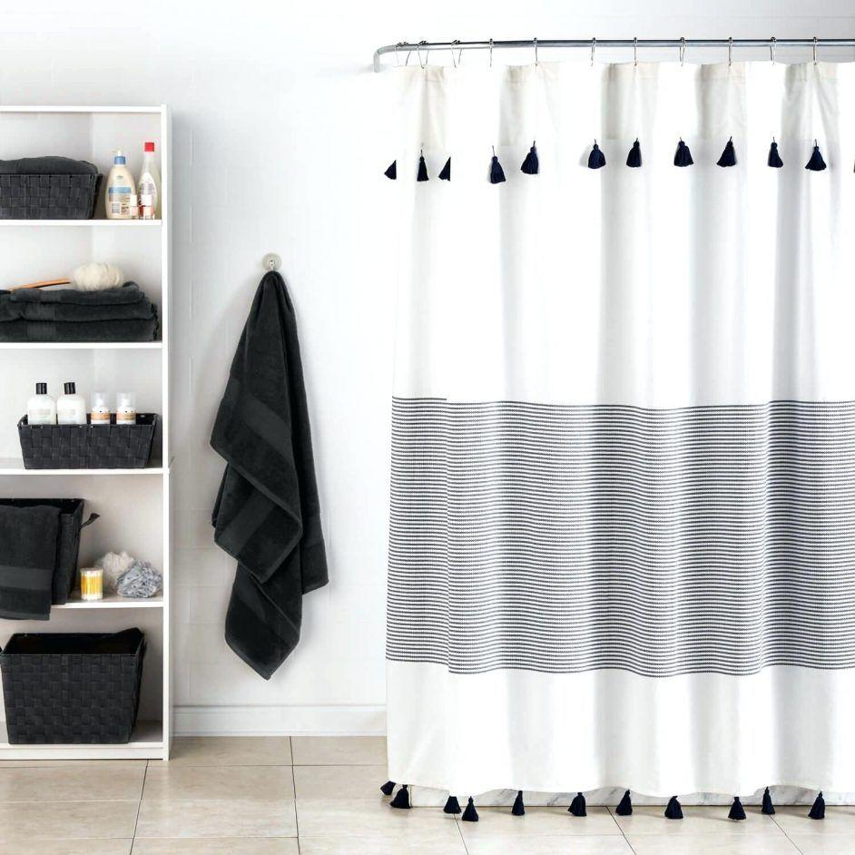 Shower Curtains Panama Stripe Shower Curtain Light Gray Striped