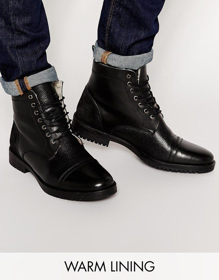 Buy Men Shoes / Asos Boots In Black Leather With Warm Lining
