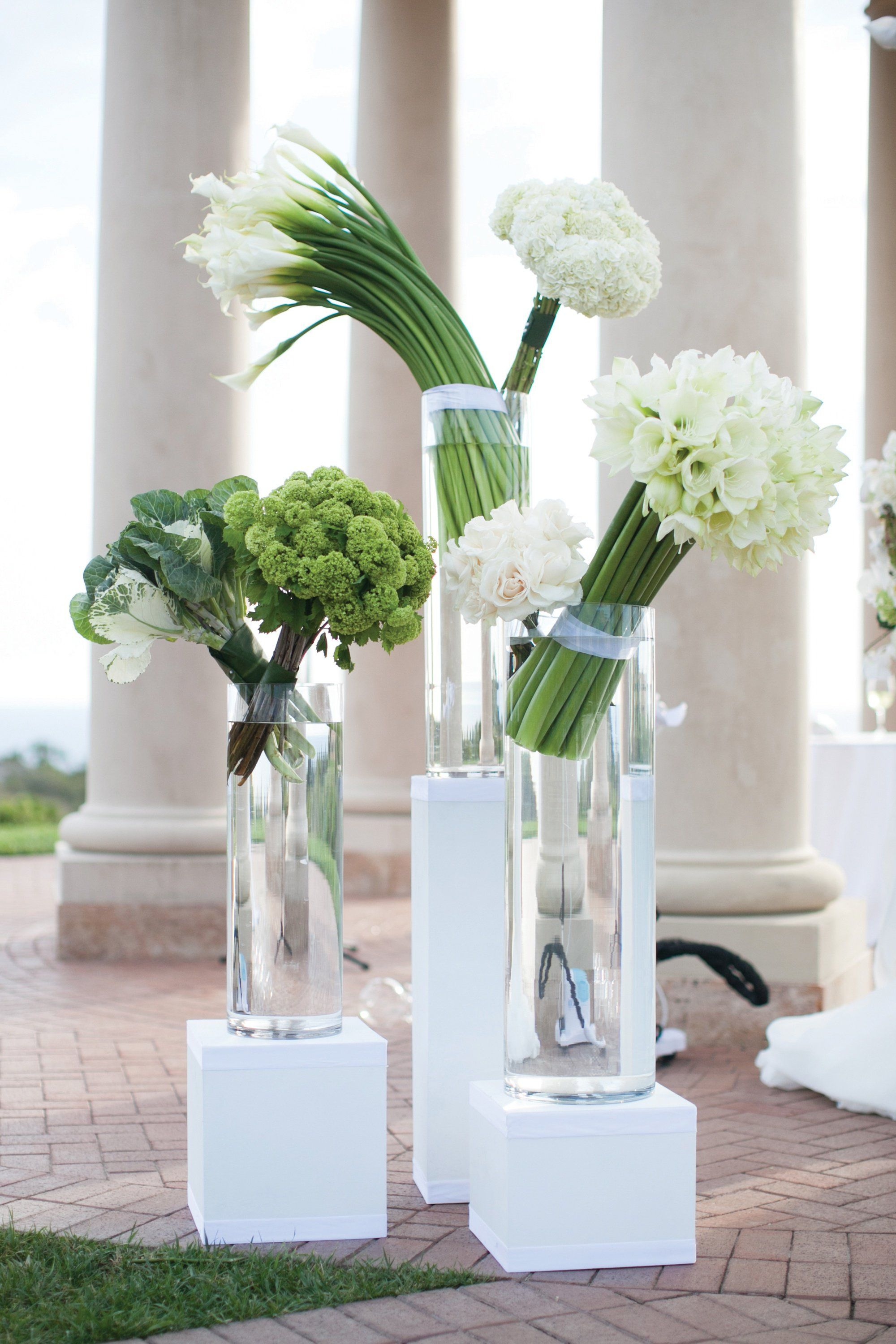 Modern green and white ceremony arrangements for Contemporary table centerpieces