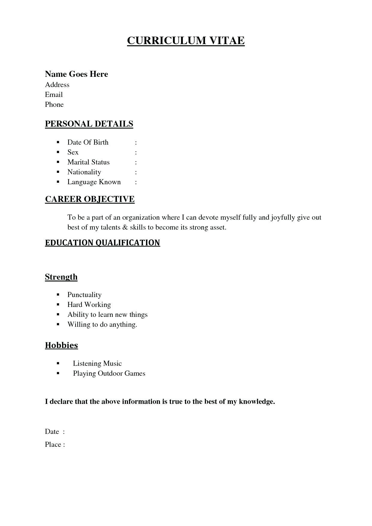Marriage Resume Format Word File Unique New South Sample For Girl