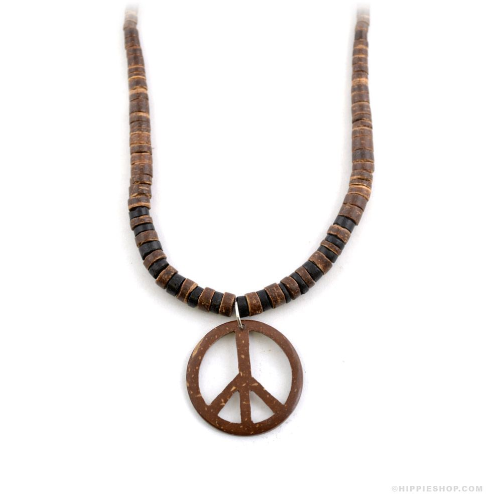 Peace sign wooden bead necklace on sale for 999 at hippieshop peace sign necklace mozeypictures Choice Image
