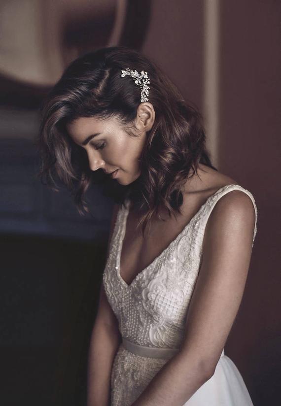 ARTEMIS | silberner Kristall-Seitenkamm mit reichsblauen Kristallen - Hochzeit und Braut #besthairtexturizers