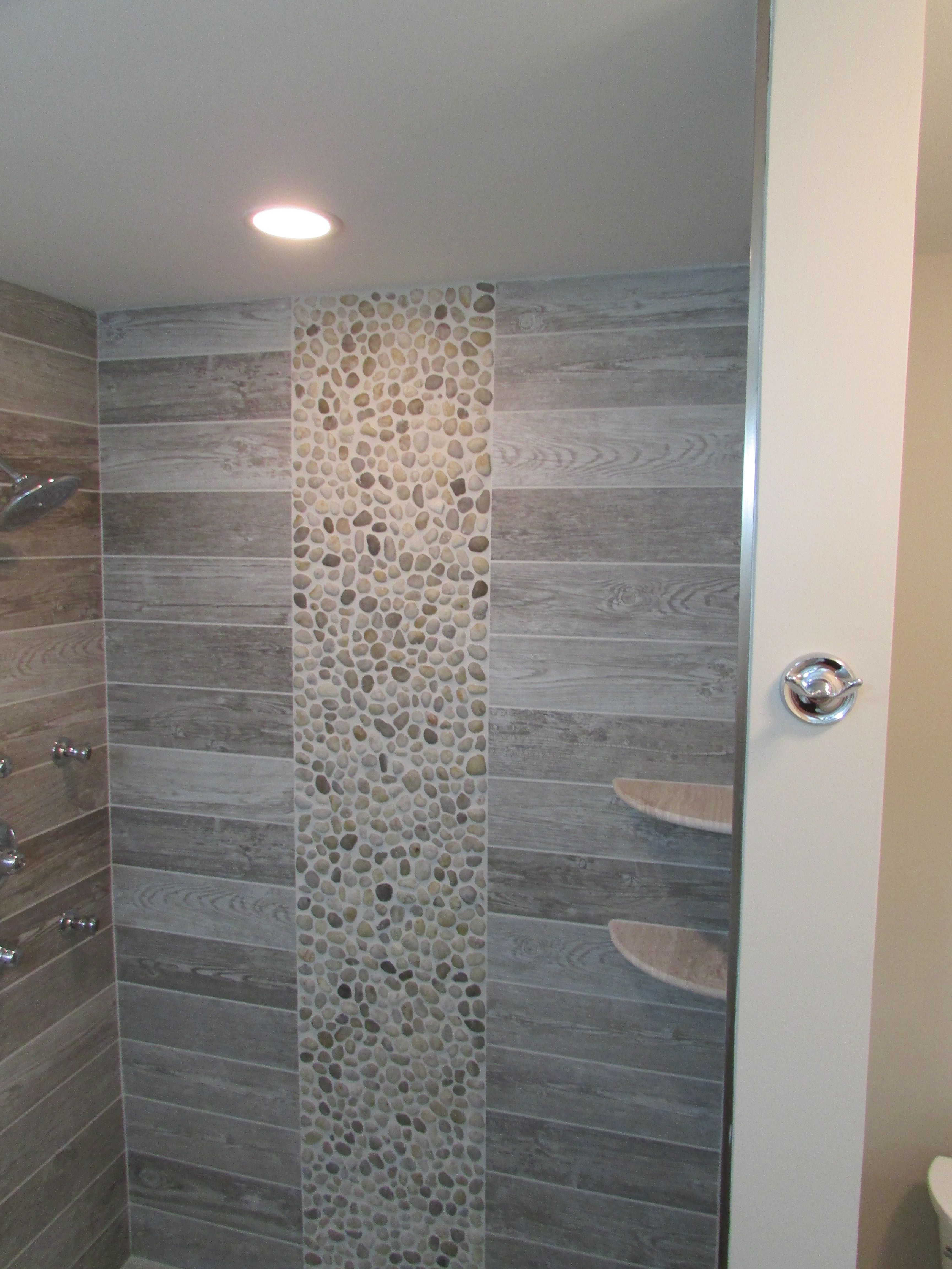 Master shower 5 39 shower with shelves rectangle wood look for Masters wall tiles