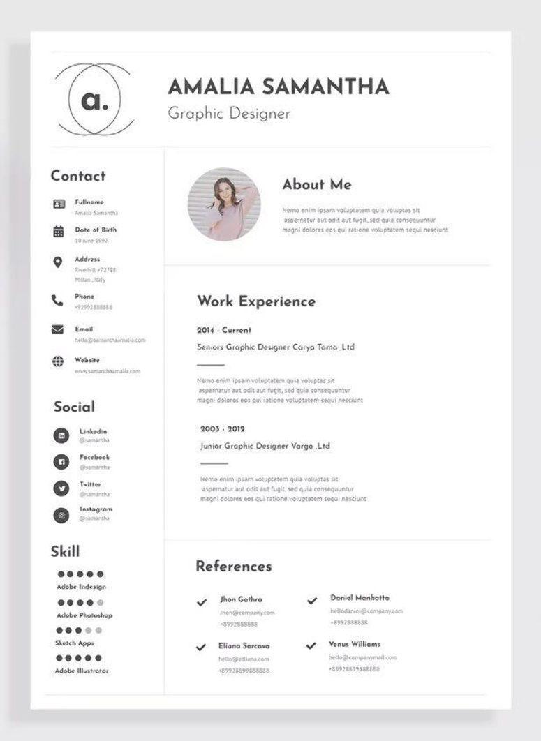 Resume / CV Template AI, EPS Graphic designer resume