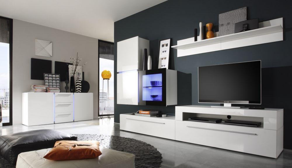QUINTO Hochglanz Wohnwand in weiß oder schwarz Hochglanz weiß - hochglanz weiss modernen apartment