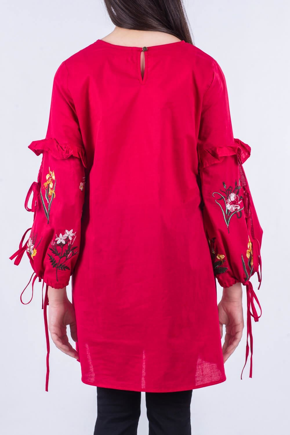 Embroidered red ready to wear top By breakout pret wear 2018