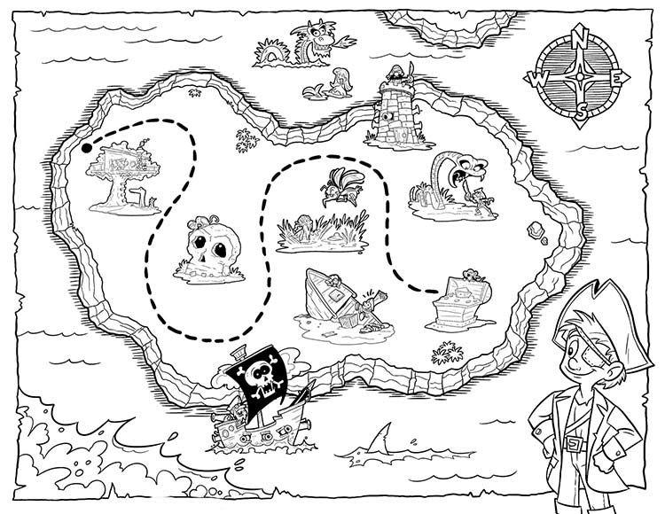 Раскраска Карта Сокровищ распечатать бесплатно в 2020 г ...