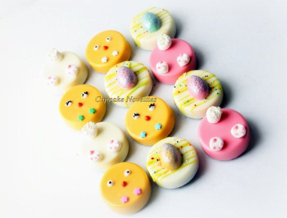 Online Shipping! Delicious custom Easter Chocolate-covered Oreos! Includes cute little Easter bunny butts & tails, yellow chicks & Easter eggs! Great for Spring & Garden themed parties too!