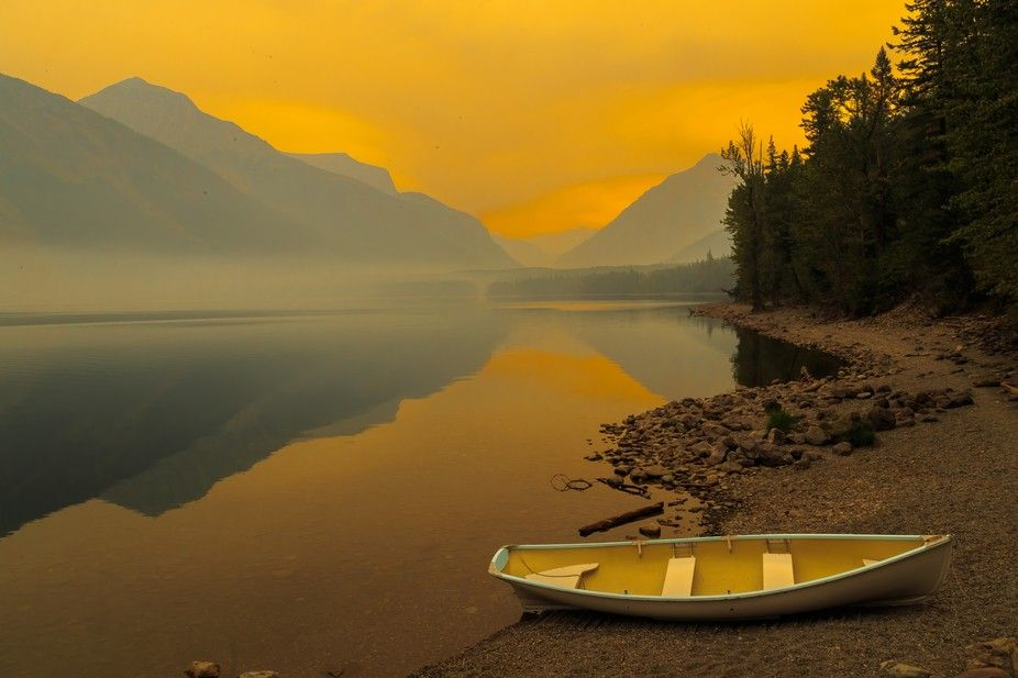Yellow Sunset on Lake McDonald