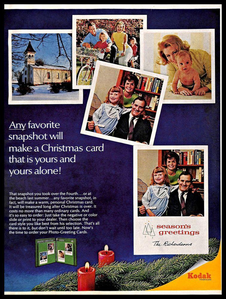 1966 Kodak Photo-Greeting Cards Vintage PRINT AD Christmas Family ...