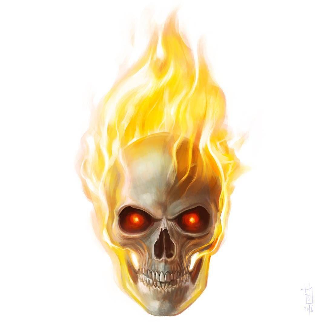 40. GHOST RIDER #drawing #painting #digitalart #portrait #skull ...