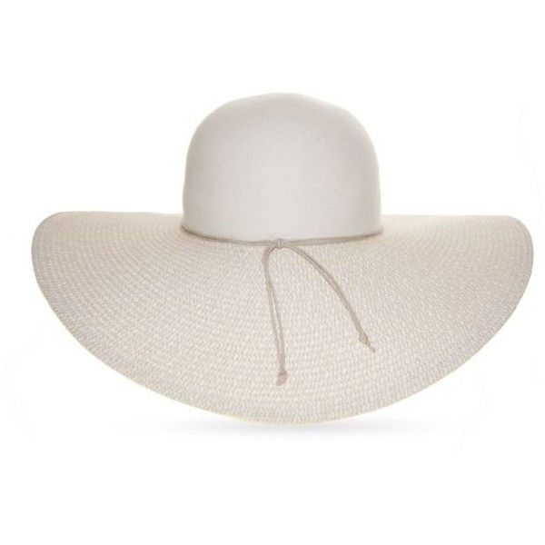 6c1bdf4acb9 Nine West White Felt And Straw Floppy Hat ( 34) ❤ liked on Polyvore  featuring accessories