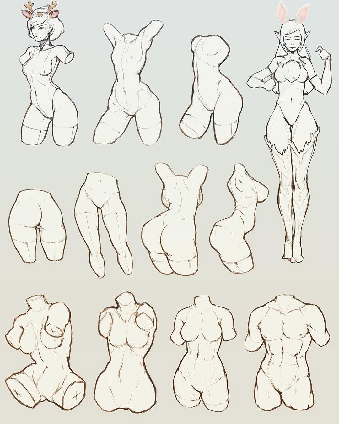 study #art #draw #female #body #sketch #reference #wip #girl #line ...