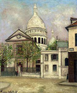 """Iglesia de Saint-Pierre de Montmartre y el Sacré-Coeur"" de Maurice Utrillo (1883-1955, France)"