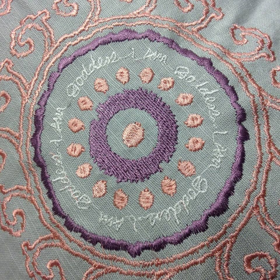 Loving the beautiful embroidery that has been done. This combination of colors inspires peace & tranquility. What do they do for you?