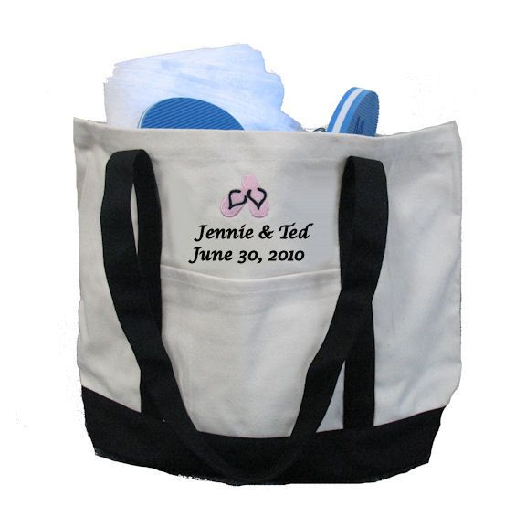 60b508b88762ad Personalized Bride and Groom Flip Flop Tote Bag  31.82