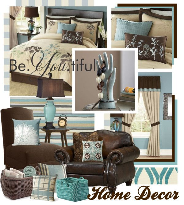 "Gray And Teal Living Room By Jurzychic On Polyvore: ""Teal Brown And Beige Home Decor"" By"