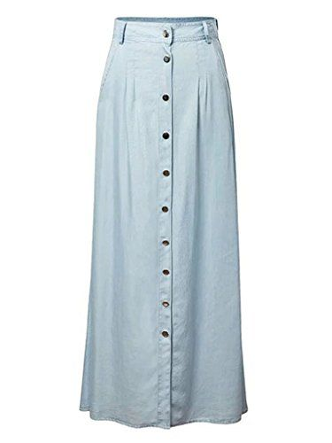1f813b46a Joeoy Women's High Waist Button Up A Line Denim Long Maxi Skirt #skirts # women #womenskirts #fashion