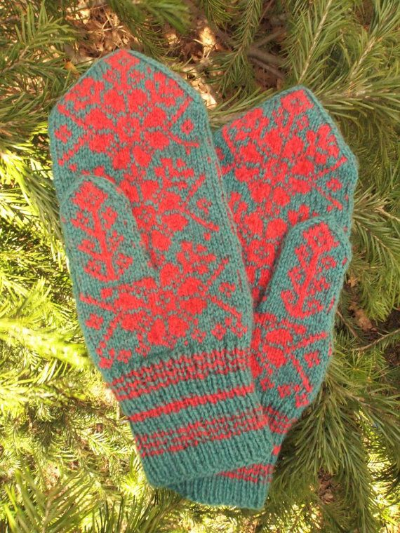 Finely Hand Knitted Estonian Mittens in Red and by NordicMittens