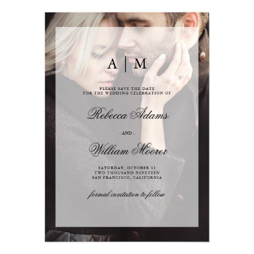 Modern Wedding Save the Date | Photo with Overlay Magnetic Card