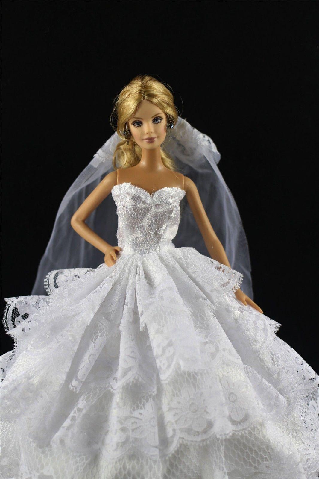 White Fashion Princess Party DressuWedding ClothesGownVeil For