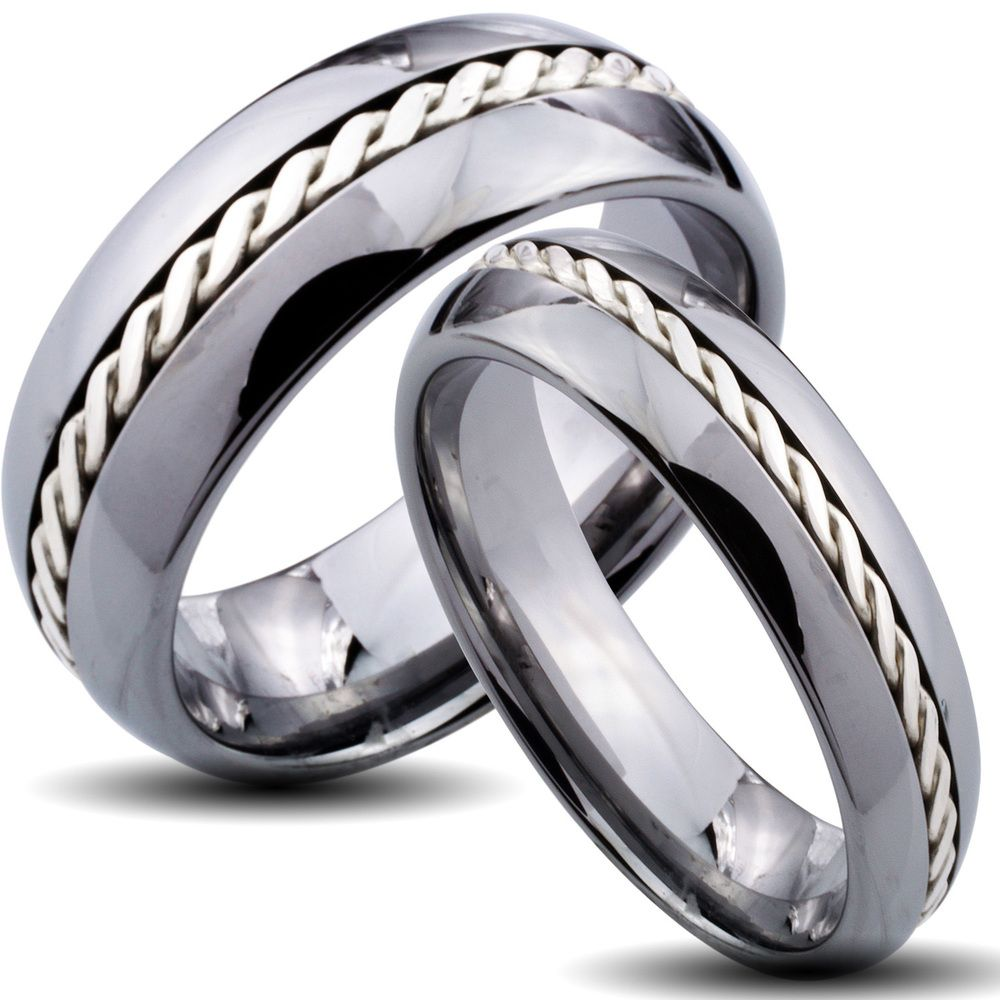 Tungsten carbide silver rope inlay his and her wedding for Tungsten carbide wedding ring sets