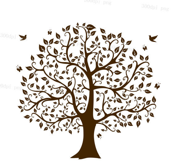 Tree Silhouette Digital Clipart Vector Eps Png Files Clip Art Etsy In 2021 Family Tree Art Tree Art Family Tree Images