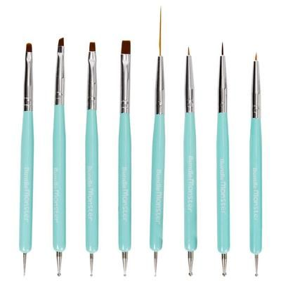 Cute Turquoise 8pc Dual Sided Nail Art Brush And Dotting Tool Set