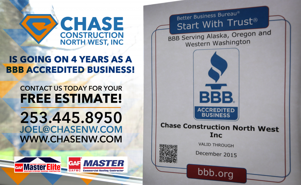 Chase Construction NW, INC is going on 4 years as a BBB Accredited Business! http://www.chasenw.com/blog/bbb-accredited-roofing-contractor-for-tacoma-wa/